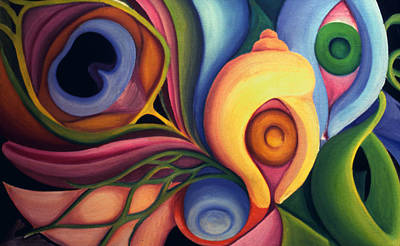 Painting - Biomorphic Shapes 1977 by Nancy Griswold