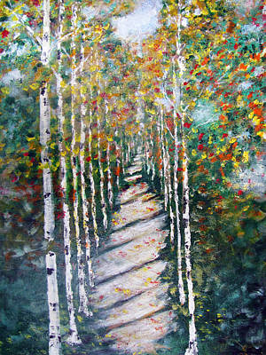Painting - Birch Path In Fall by Gary Smith