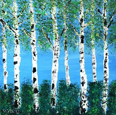 Painting - Birch Study Summer At The Lake by Valerie Ornstein