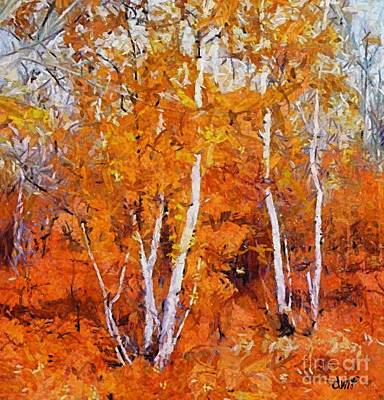 Birches Painting - Birch Trees In Autumn by Dragica  Micki Fortuna