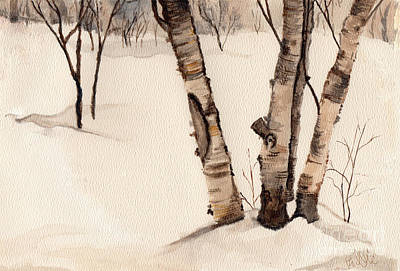 Birch Trees In The Snow Art Print by Barb Kirpluk