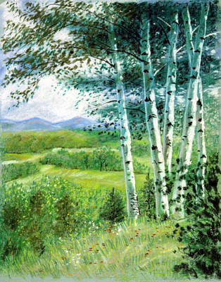 Smoky Painting - Birch Trees by John Lautermilch