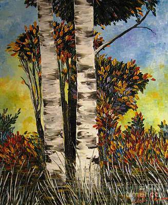 Birches For My Friend Art Print by AmaS Art