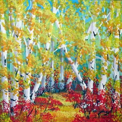 Birches In Autumn Art Print by Sharon Marcella Marston