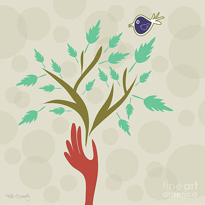 Bird And Branch Art Print by HD Connelly