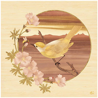 Marquetry Mixed Media - Bird Bee Wood Art by Vincent Doan
