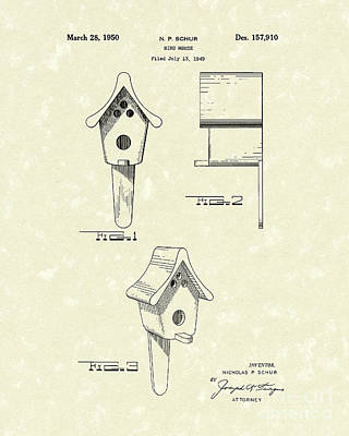 Drawing - Bird House 1950 Patent Art  by Prior Art Design