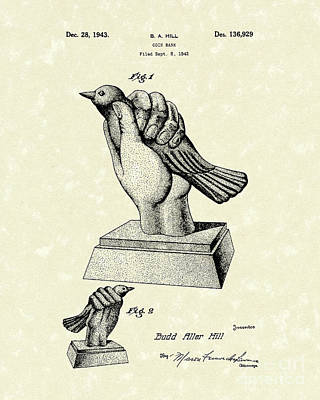 Bird In The Hand Coin Bank 1943 Patent Art Art Print by Prior Art Design