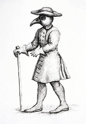 Plague Doctor Photograph - Bird-like Mask On Physicians During The Plague by St Bartholomew's Hospital