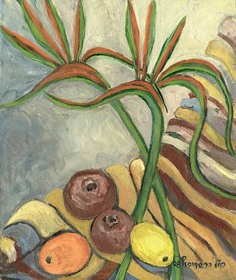 Painting - Bird Of Paradise Flowers And Fruits On A Carpet In Yellow Brown Green by Rachel Hershkovitz
