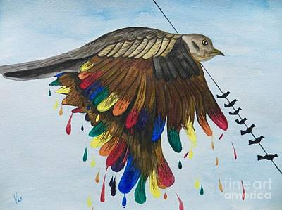 Painting - Bird On A Wire Flys Free by Judy Via-Wolff
