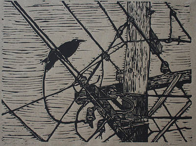 Powerlines Drawing - Bird On A Wire by William Cauthern