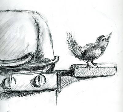 Drawing - Bird On The Bbq by Marilyn Barton