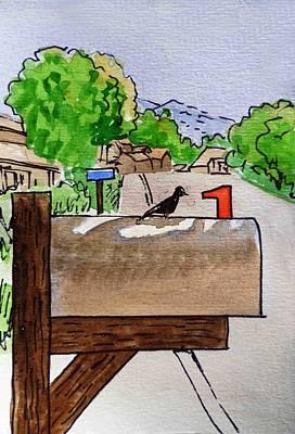 Mailbox Painting - Bird On The Mailbox Sketchbook Project Down My Street by Irina Sztukowski