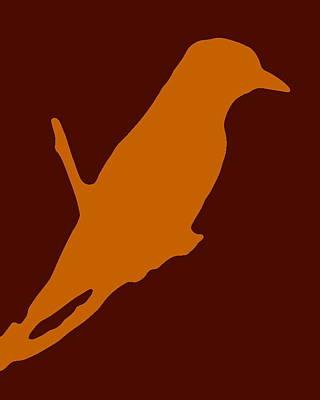 Photograph - Bird Silhouette Orange Brown by Ramona Johnston