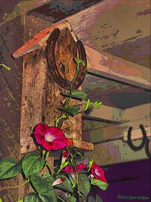 Birdhouse Morning Glories Two Art Print by Joyce Dickens