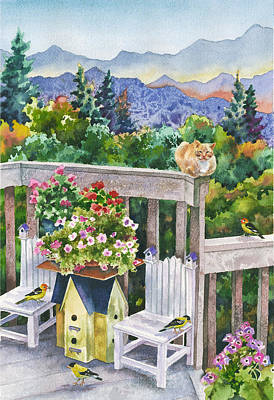 Goldfinch Painting - Birdhouses by Anne Gifford