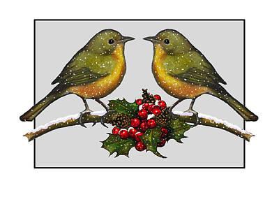 Drawing - Birdies At Christmas Time by Joyce Geleynse