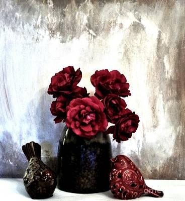 Birdies Smelling Roses Art Print by Marsha Heiken