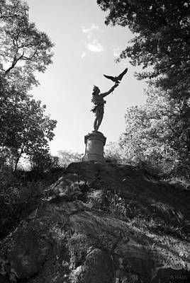 Birdman Of Central Park In Black And White Art Print