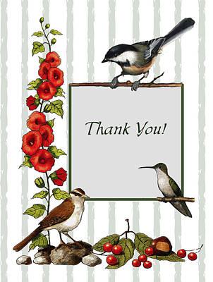 Photograph - Birds And Flowers Thank You Card by Joyce Geleynse