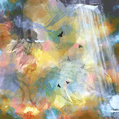 Birds In A Nebula Art Print by Carly Ralph