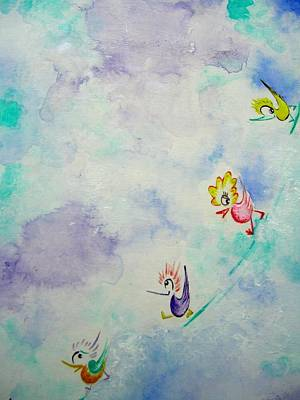 Painting - Birds On The Clouds  by Asida Cheng