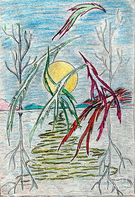 Birds Over Lake Art Print