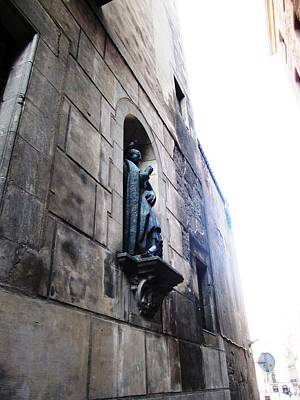 Photograph - Birds Resting On And Next To An Old Religious Statue Barcelona Spain by John Shiron