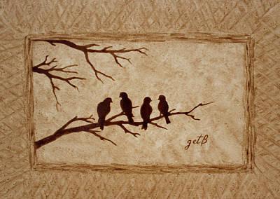 Birds Vintage Photo Beer Painting Original by Georgeta  Blanaru
