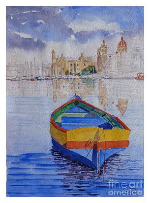 Birgu Painting - Birgu Waterfront by Godwin Cassar