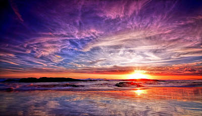 Birubi Point Sunset Redux Art Print