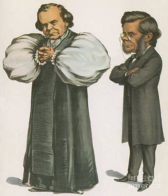 English Bulldog Drawing Photograph - Bishop Wilberforce And Thomas Huxley by Science Source
