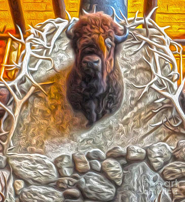 Art Print featuring the painting Bison Head by Gregory Dyer