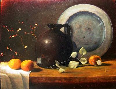 Bittersweet Painting - Bittersweet And Molasses Jug by Tom Jennerwein