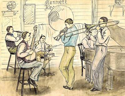 Trombone Drawing - Bix And Td by Mel Thompson