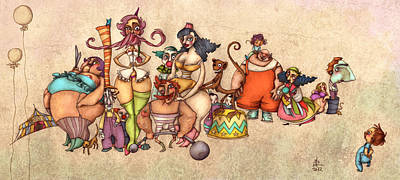 Cartoon Painting - Bizarre Circus People by Autogiro Illustration