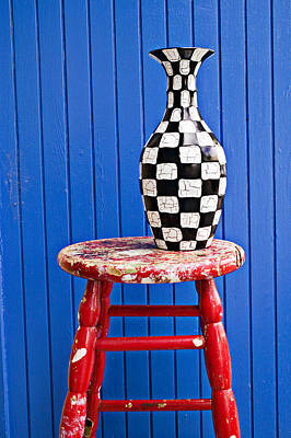 Stool Photograph - Blach And White Vase On Stool Against Blue Wall by Garry Gay