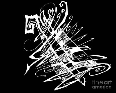 Abstract Digital Drawing - Black And White And Abstract All Over by Stef Schultz Sorry Little Sharky