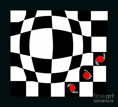 Concentration Digital Art - Black And White And Red Abstract Art No.66. by Drinka Mercep