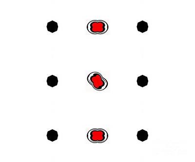 Concentration Digital Art - Minimalism Black White Red Art No.91. by Drinka Mercep