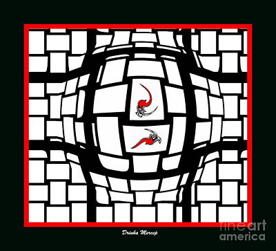 Concentration Digital Art - Black And White And Red No.61. by Drinka Mercep