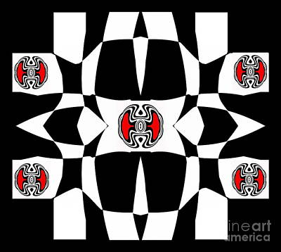 Concentration Digital Art - Black And White And Red Op Art No.130. by Drinka Mercep