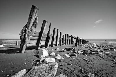 Black And White Beach With Rocks And Wood Art Print