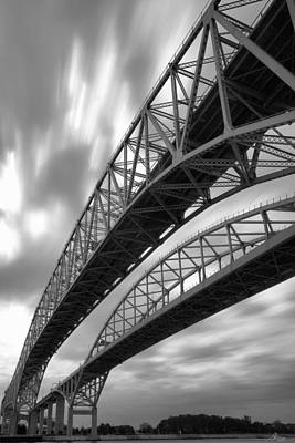 Traffic Light Digital Art - Black And White Blue Water Bridge by Gordon Dean II