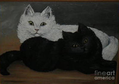 Black And White Cats Art Print by Hilda Schreiber