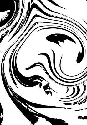 Concentration Digital Art - Black And White Circles Waves Wortex No.210 by Drinka Mercep