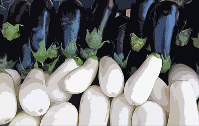 Digitally Manipulated Photograph - Black And White Eggplant by Pat Exum