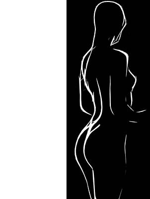 Body Scape Digital Art - Black And White Erotic by Steve K