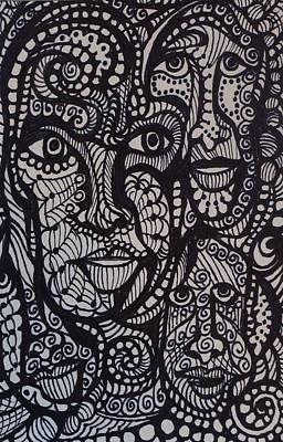 Dots And Lines Drawing - Black And White Faces by Gerri Rowan